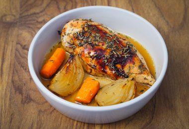 Poulet oignon carottes rotis